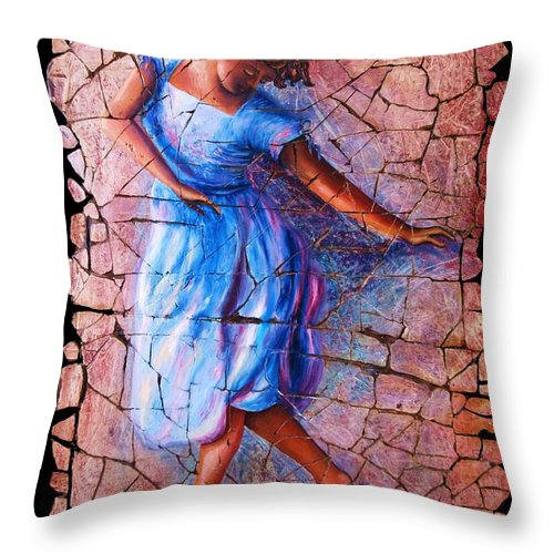 Isadora Duncan Throw Pillow featuring the painting Isadora Duncan - 3 by OLena Art Brand