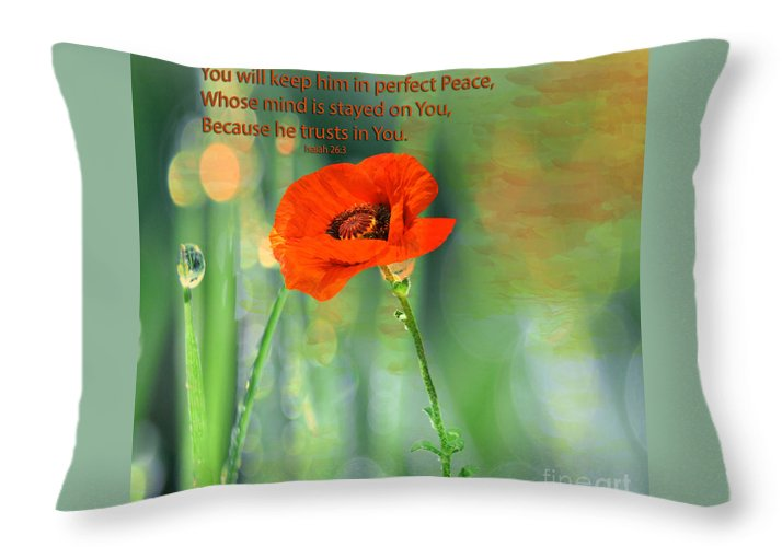 Floral Throw Pillow featuring the photograph Isaiah 26 3 Of Beverly Guilliams by Beverly Guilliams