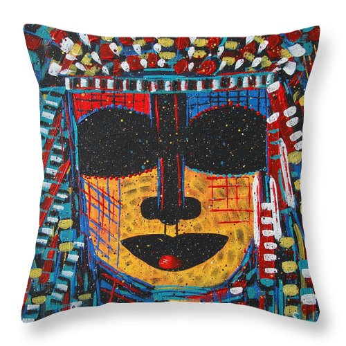Abstract Throw Pillow featuring the painting Isatoria by Natalie Holland