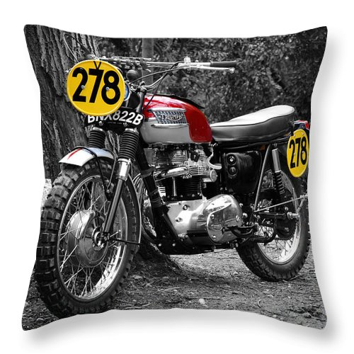 Motorcycle Throw Pillow featuring the photograph Isdt Triumph Steve Mcqueen by Mark Rogan
