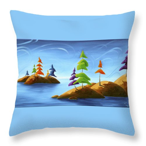 Landscape Throw Pillow featuring the painting Island Carnival by Richard Hoedl