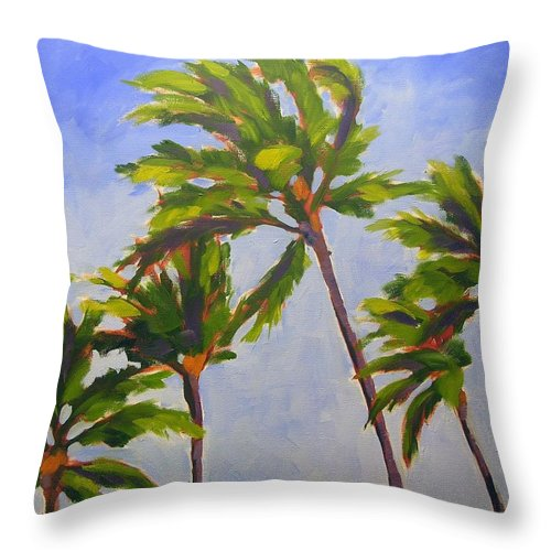 Oil Throw Pillow featuring the painting Island Palms by Mary McInnis
