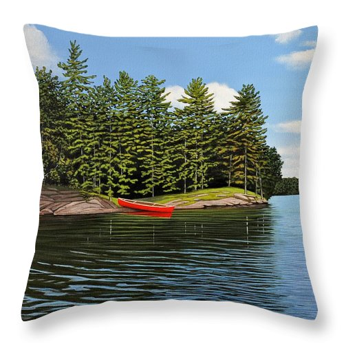 Island Throw Pillow featuring the painting Island Retreat by Kenneth M Kirsch