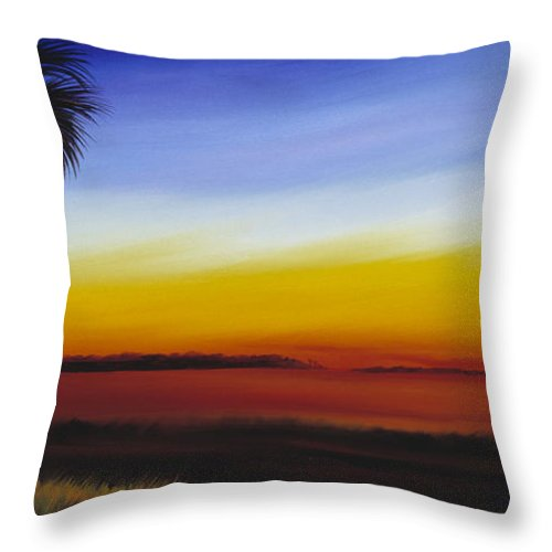 Palmetto Tree Throw Pillow featuring the painting Island River Palmetto by James Christopher Hill