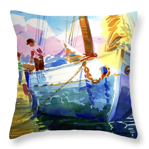Bahamas Throw Pillow featuring the painting Island Sisters by Lee Klingenberg