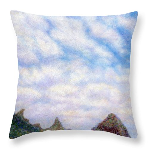 Coastal Decor Throw Pillow featuring the painting Island Sky by Kenneth Grzesik