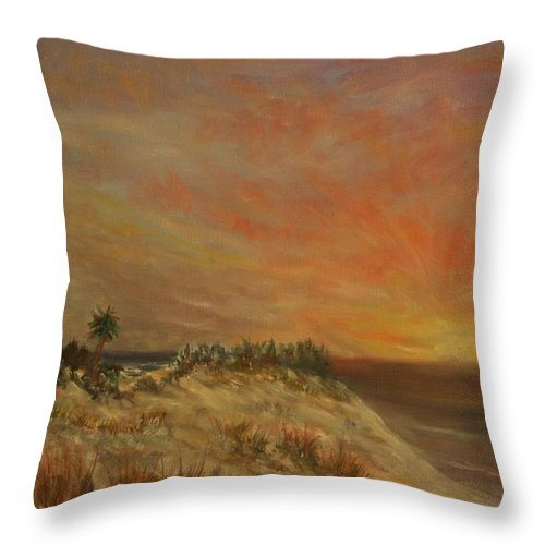 Sunset;beach;ocean;palm Trees Throw Pillow featuring the painting Island Sunset by Ben Kiger
