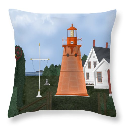 Lighthouse Throw Pillow featuring the painting Isle La Motte Vermont Lighthouse by Anne Norskog