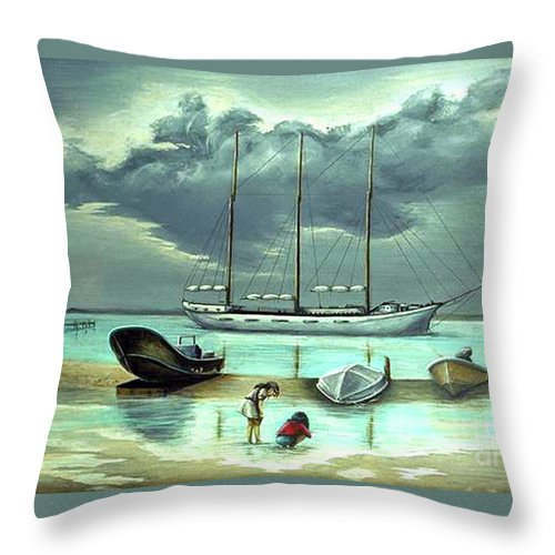 Fuqua Gallery-bev-artwork Throw Pillow featuring the painting Isle Of Mujeres by Beverly Fuqua