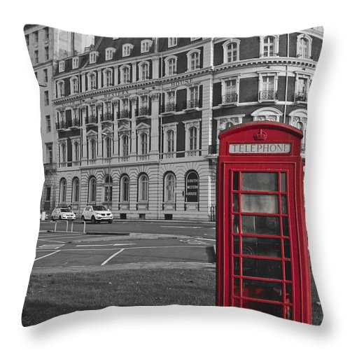 Isolated Colour Throw Pillow featuring the photograph Isolated Phone Box by Terri Waters