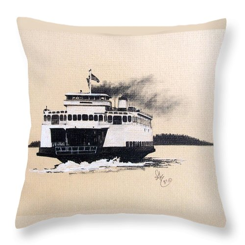 Ferry Throw Pillow featuring the pastel Issaquah by Gale Cochran-Smith