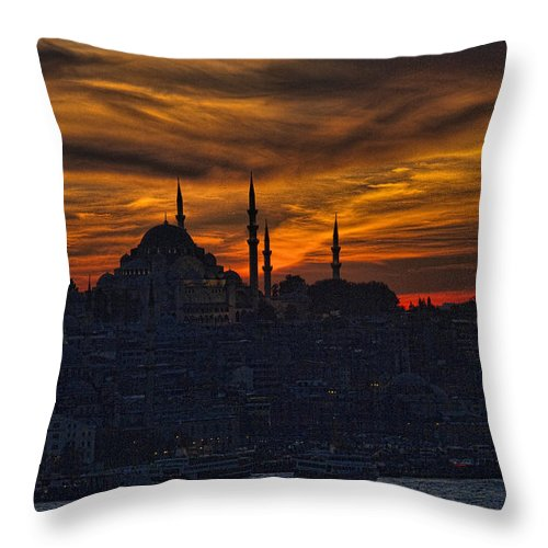 Dramatic Throw Pillow featuring the photograph Istanbul Sunset - A Call To Prayer by David Smith