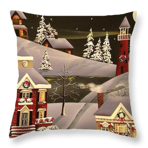 Art Throw Pillow featuring the painting It Came Upon A Midnight Clear by Catherine Holman