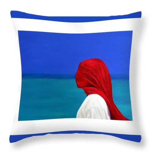 Red Throw Pillow featuring the painting It Could Be You by Fiona Jack