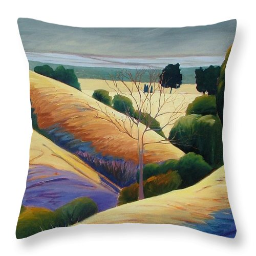 Gray Skys Throw Pillow featuring the painting It by Gary Coleman