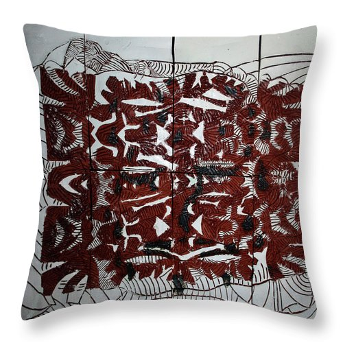 Mama Africa Twojesus Throw Pillow featuring the ceramic art It Is Done by Gloria Ssali