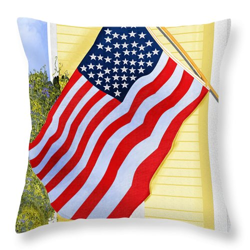 U.s. Flag Throw Pillow featuring the painting It Will Fly Until They All Come Home by Anne Norskog
