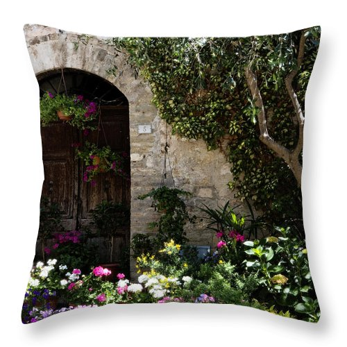 Flower Throw Pillow featuring the photograph Italian Front Door Adorned With Flowers by Marilyn Hunt