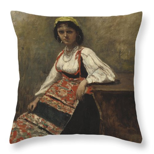 Throw Pillow featuring the painting Italian Girl by Jean-baptiste-camille Corot