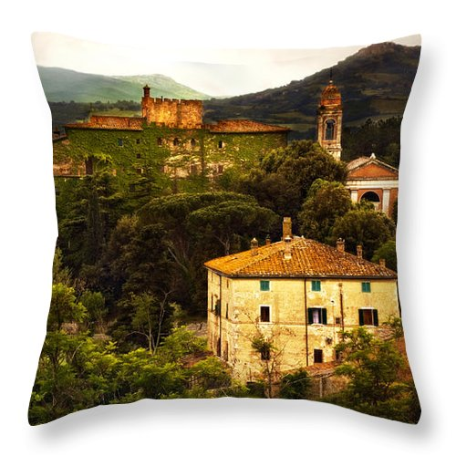 Italy Throw Pillow featuring the photograph Italian Castle and Landscape by Marilyn Hunt