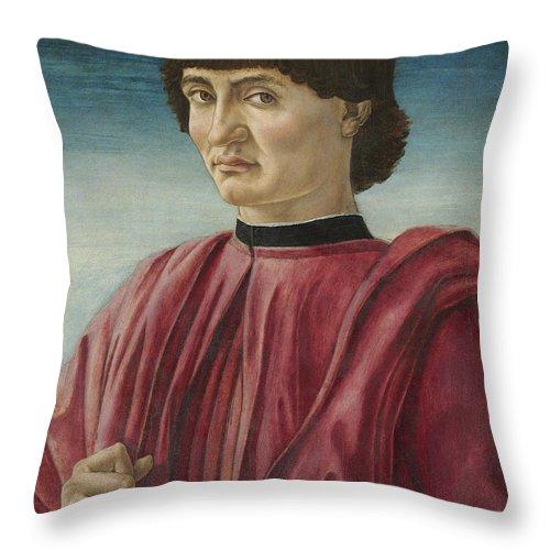 Andrea Del Castagno Throw Pillow featuring the painting Italian Renaissance Portrait Painter by Celestial Images