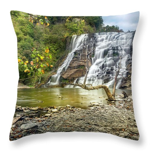 New York Throw Pillow featuring the photograph Ithaca Falls In Early Autumn by Karen Jorstad