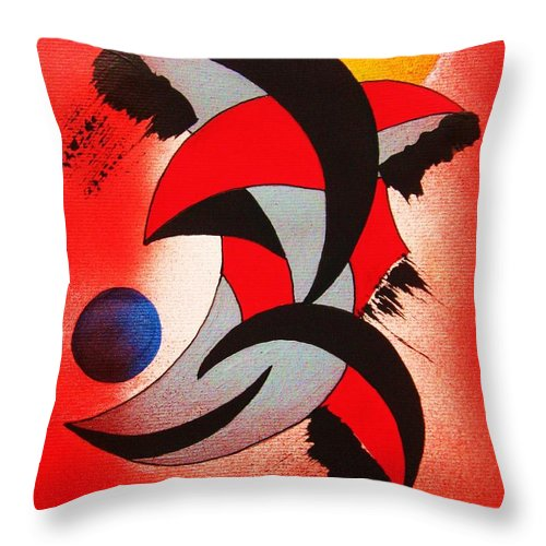 Abstract Throw Pillow featuring the painting Ito-kina Doryoku by Roberto Prusso