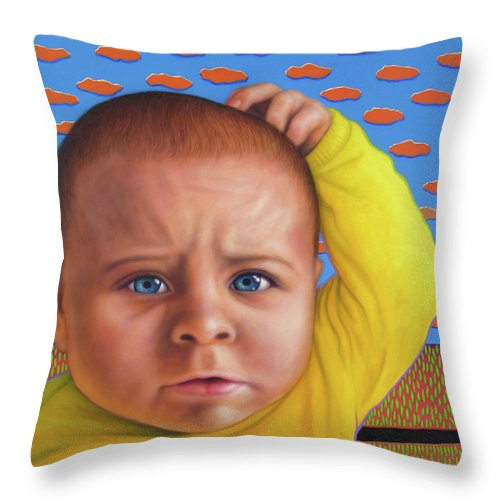 Confusing Throw Pillow featuring the painting It's A Confusing World by James W Johnson