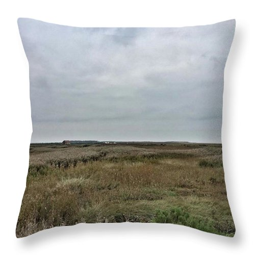 Natureonly Throw Pillow featuring the photograph It's A Grey Day In North Norfolk Today by John Edwards
