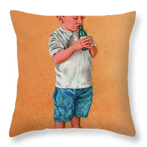 Summer Throw Pillow featuring the painting It's A Hot Day - Es Un Dia Caliente by Rezzan Erguvan-Onal