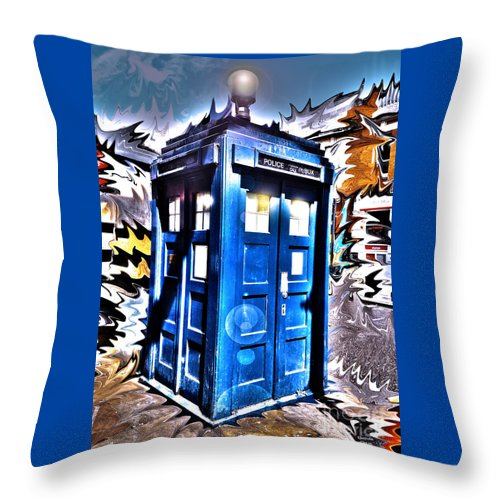 Dr. Who Throw Pillow featuring the photograph It's Bigger On The Inside by Rhonda Chase