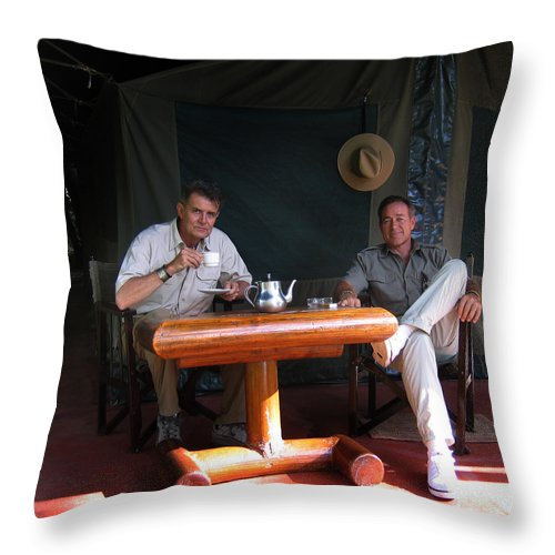 Safari Lodge Throw Pillow featuring the photograph It's Hell In The Bush by Joseph G Holland
