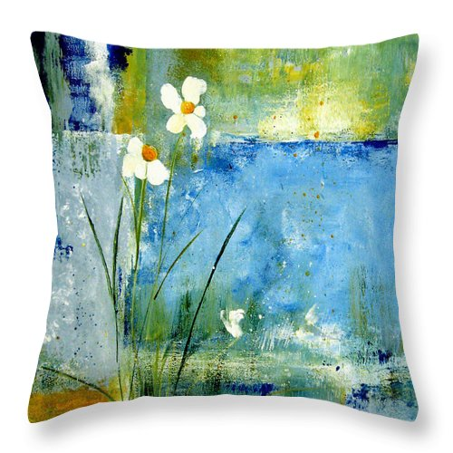 Abstract Throw Pillow featuring the painting It's Just You And Me by Ruth Palmer