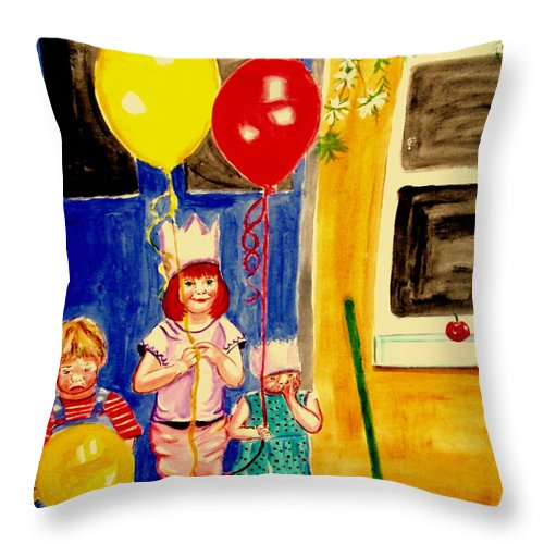 Childhood Throw Pillow featuring the painting Its My Party by Rusty Gladdish