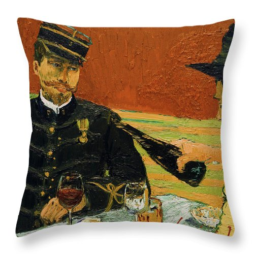 Throw Pillow featuring the painting It's Not Like He Needs It by Jerzy Lisak