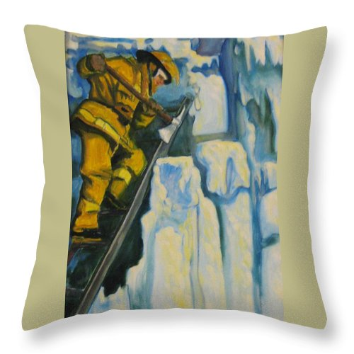 Firefighters Throw Pillow featuring the painting Its Not Over Till Its Over by John Malone