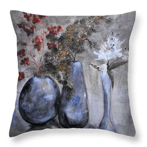 Abstract Throw Pillow featuring the painting It's Nothing Personal by Ruth Palmer