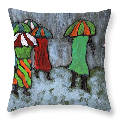 Etnic Throw Pillow featuring the painting It's Raining It's Pouring by Wayne Potrafka