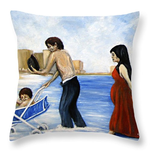 Seascape Throw Pillow featuring the painting It's Tough In Coney Island by Leonardo Ruggieri