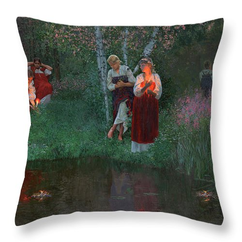 Girs Throw Pillow featuring the painting Ivan Kupala. Fortunetelling For Wreaths. by Simon Kozhin