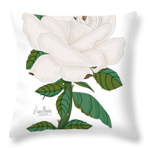 Ivory Rose Throw Pillow featuring the painting Ivory Rose by Anne Norskog