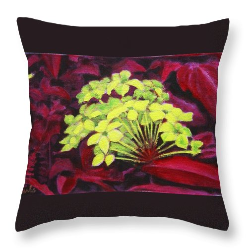 Foliage Throw Pillow featuring the painting Ixora - Jungle Flame by Usha Shantharam