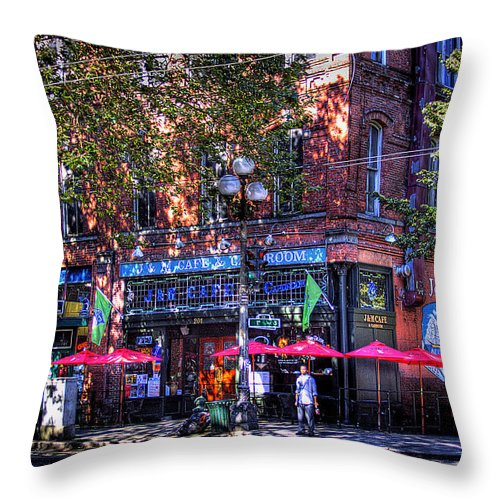J&m Cafe Throw Pillow featuring the photograph J And M Cafe by David Patterson