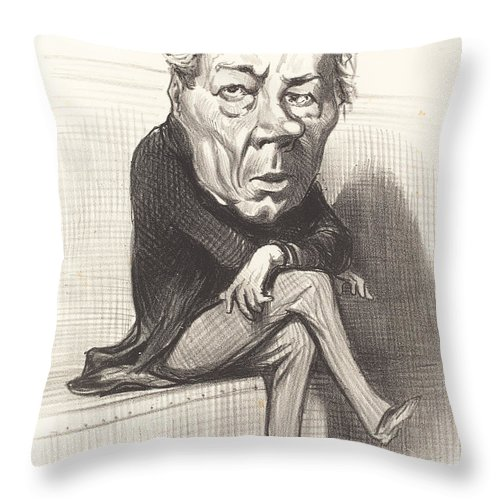 Throw Pillow featuring the drawing J. Marie Joseph Deville by Honor? Daumier