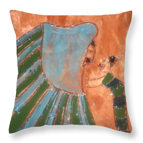 Jesus Throw Pillow featuring the ceramic art Jaaja Getu And Her Abigail - Tile by Gloria Ssali
