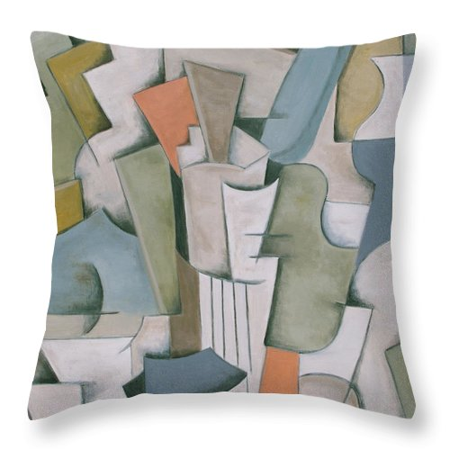 Cubism Throw Pillow featuring the painting Jabuloni by Trish Toro