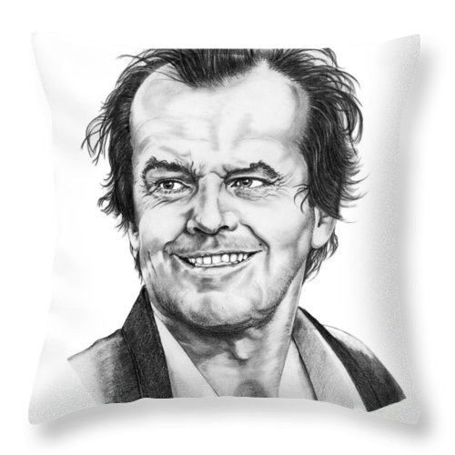 Portrait Throw Pillow featuring the drawing Jack Nickolson by Murphy Elliott