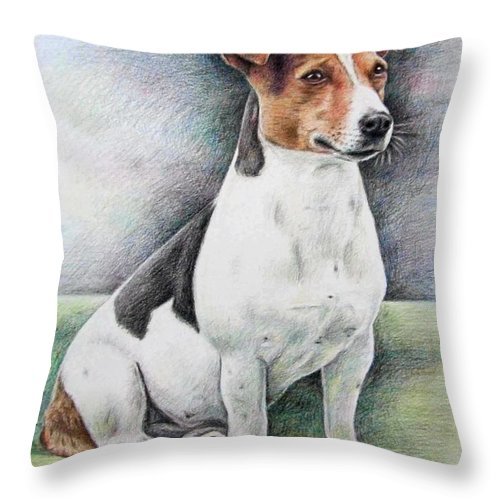 Dog Throw Pillow featuring the drawing Jack Russell Terrier by Nicole Zeug