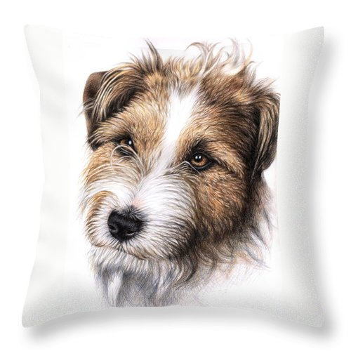 Dog Throw Pillow featuring the drawing Jack Russell Terrier Portrait by Nicole Zeug