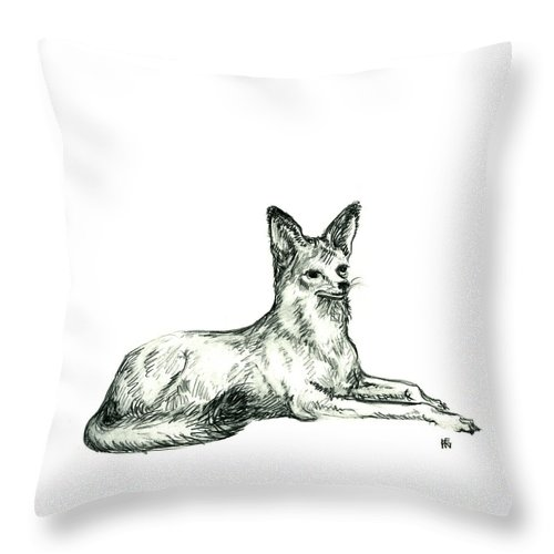 Wild Throw Pillow featuring the drawing Jackal Sketch by Shirley Heyn